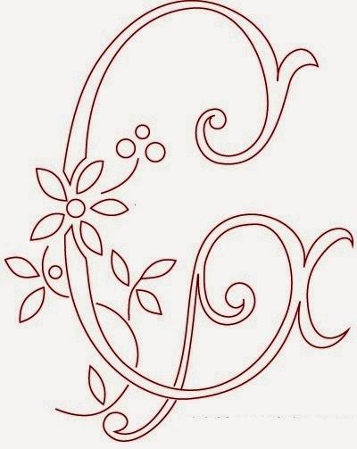 G flower calligraphy monogram tattoo stencils