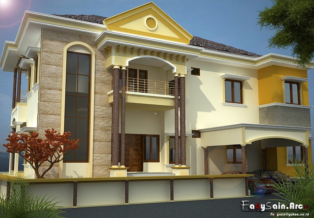 design 3d rumah modern minimalis brown black uniqx template
