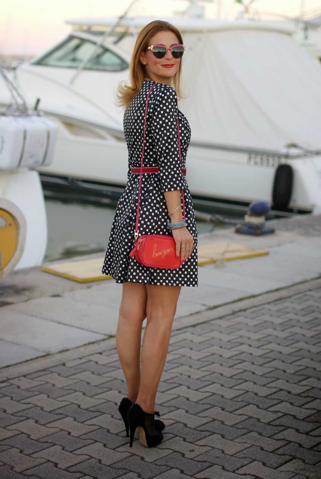 short dress, polka dots dress, bonjour bag, Luca Barra collana, Fashion and Cookies, fashion blogger