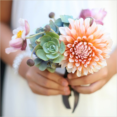 dahlia and succulent bouquet