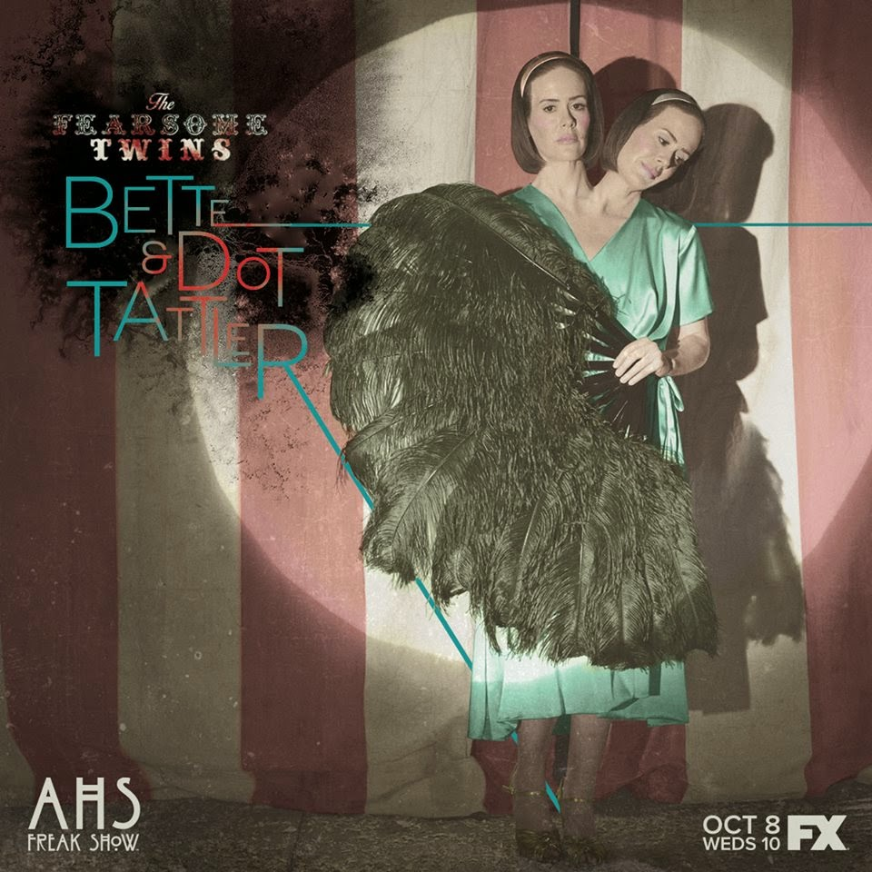 Sarah Paulson as Bette and Dot Tattler the Siamese twin sisters in American Horror Story Freak Show Season 4 Episode 2 Massacres and Matinees