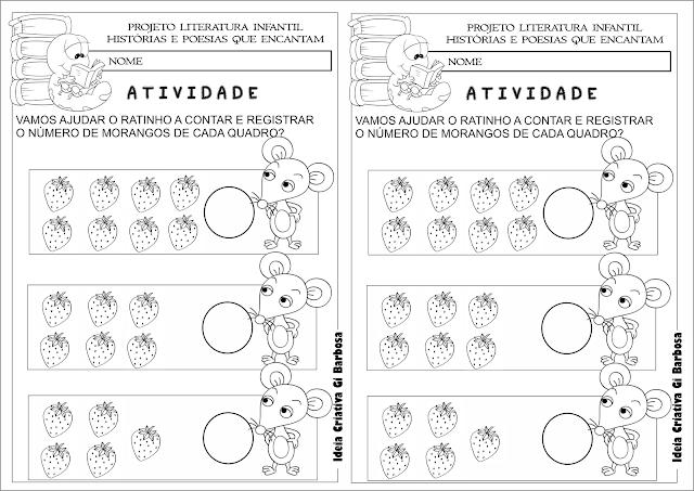Atividade Matemática O Ratinho,o Morango Vermelho Maduro e o Grande Urso Esfomeado