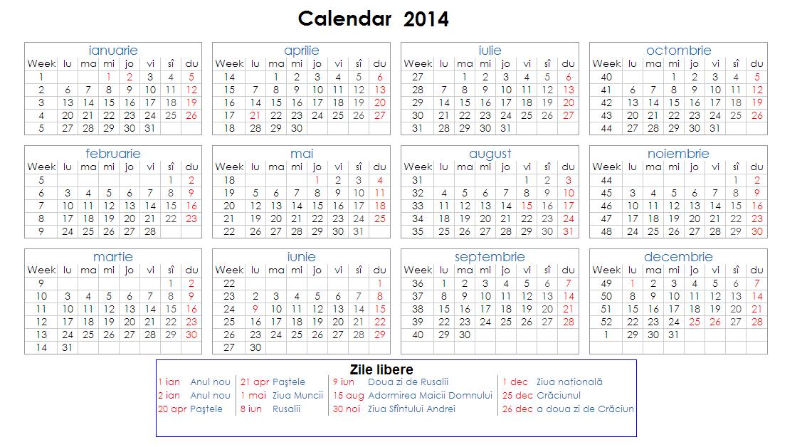 la Calendar 2014 pe saptamani pentru desktop calendar 2014 , calendar ...