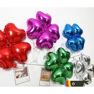 Balon Foil Empat Hati