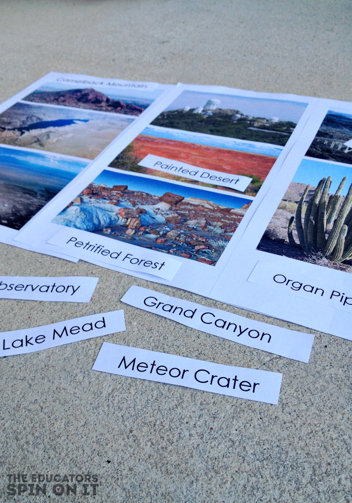 Geography Game and Printables for Arizona Landmarks from the Educators' Spin On It
