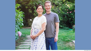 Photo of Mark Zuckerberg and his pregnant wife Priscilla Chan