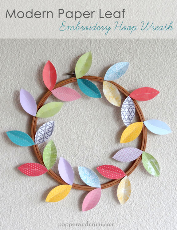 Modern Paper Leaf Embroidery Hoop Wreath