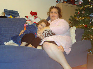 Big Boy and Mummy cuddling on the sofa