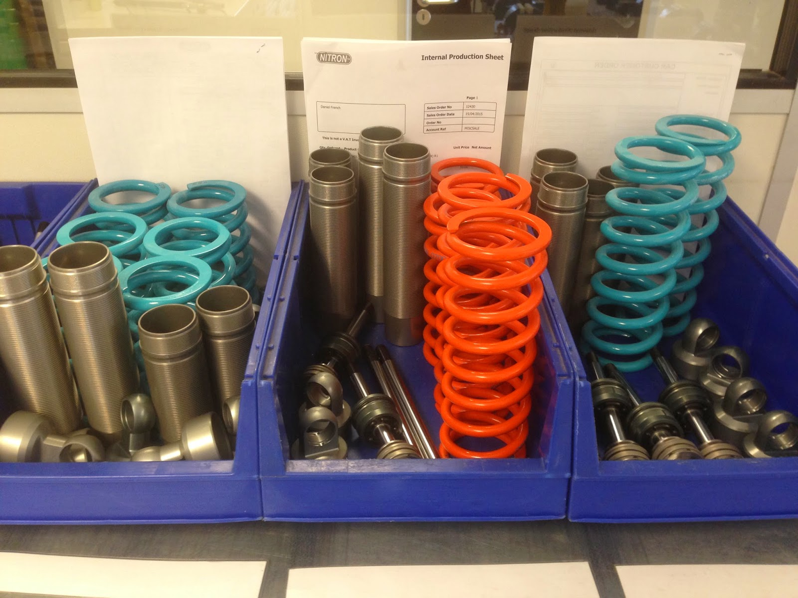 My Nitron Race R1 Shocks on the parts allocation line ready for assembly