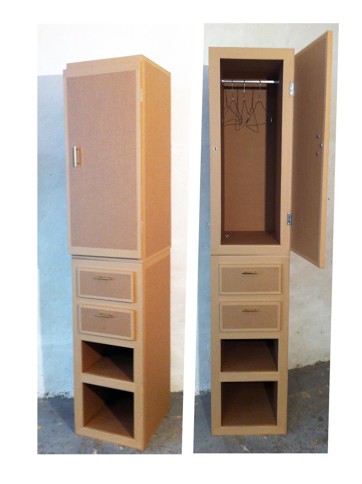 penderie en carton. meuble en carton sur mesure. fabriqué à marseille par juliadesign.
