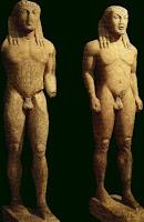 escultura griega antigua. Grecia. Arte en grecia. Korus y kore. Kuori y kore
