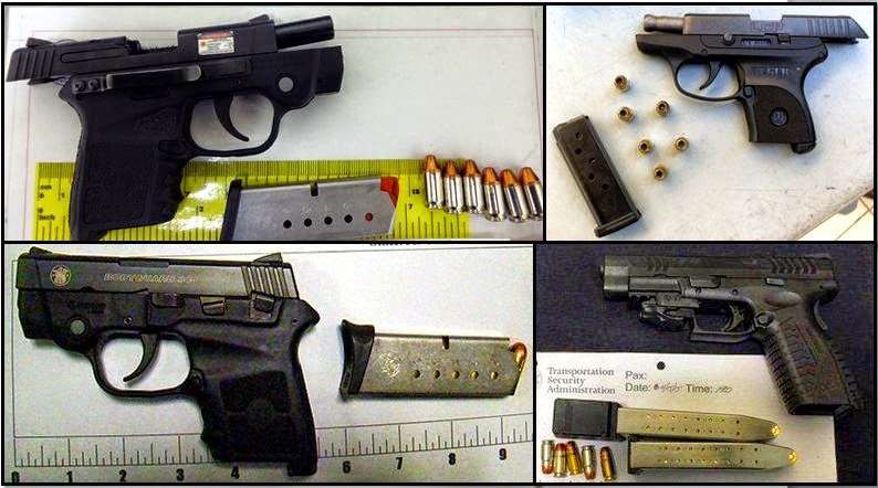 Clockwise From Top Left, Firearms Discovered in Carry-on Bags at: TUL, BNA, GTF, and CID