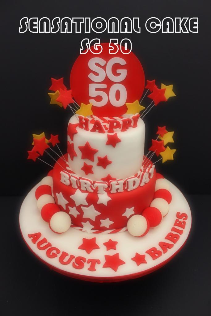 RED WHITE 2 TIER SG 50 HAPPY BIRTHDAY CAKE SINGAPORE WITH MACAROONS MACARONS SENSATIONAL CAKES CELEBRATES SG50 CORPORATE