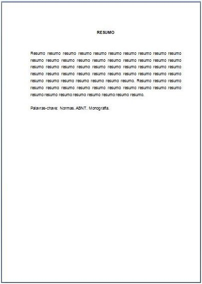 Resumo monografia abnt