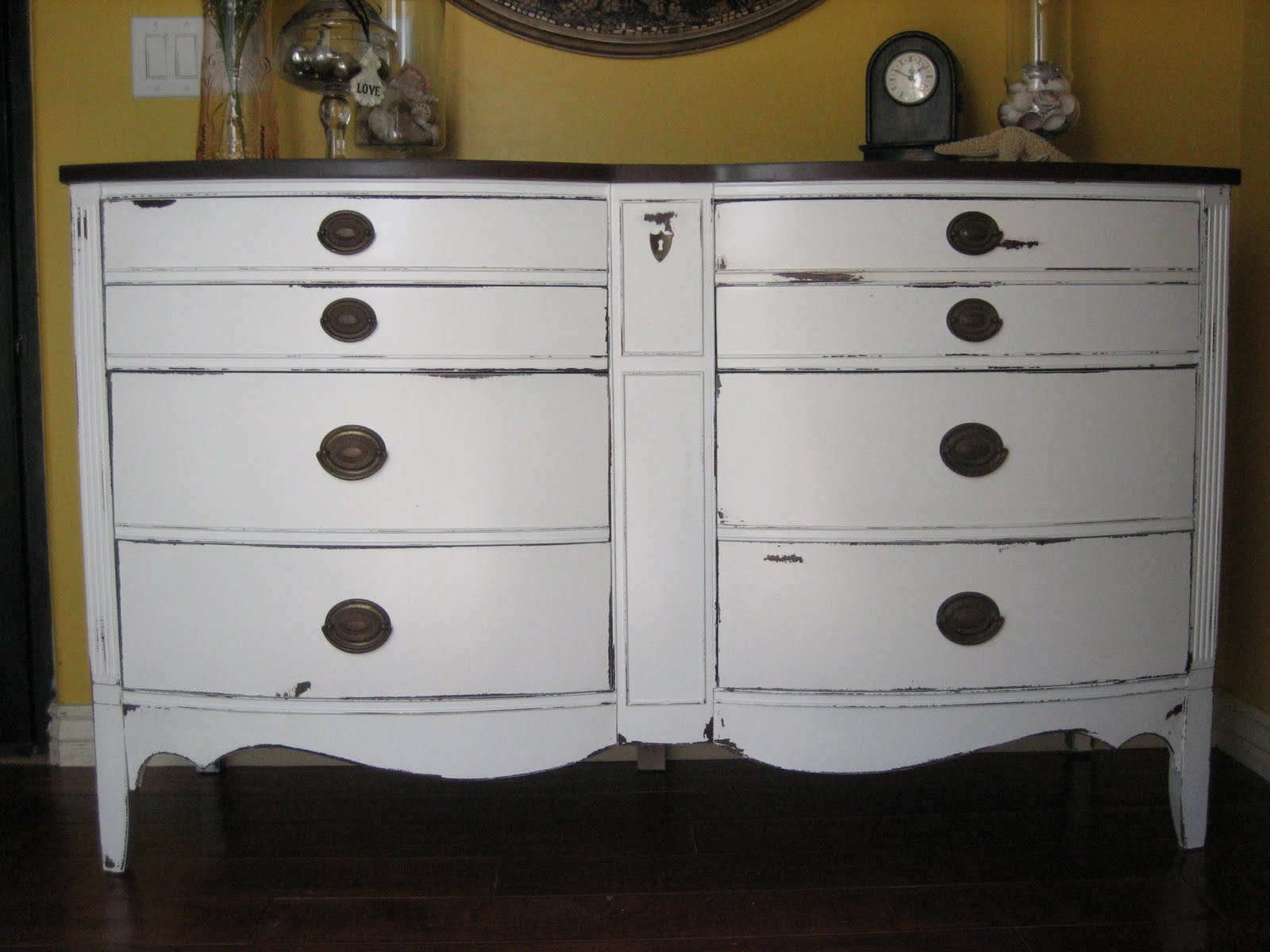 European Paint Finishes: Bowed White Dixie Dresser ~