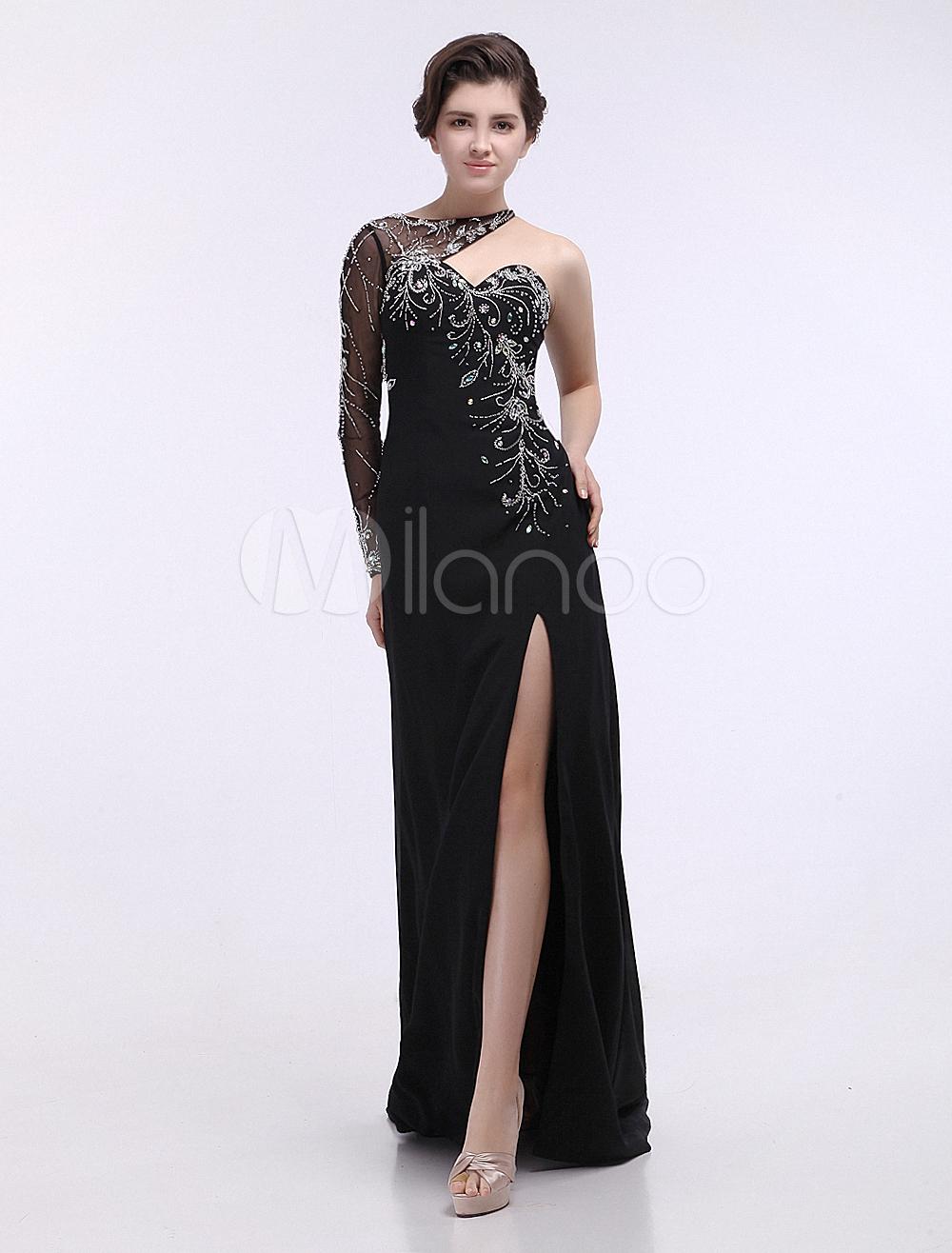 Elegant Black One-Shoulder Long Sleeves Split Front Sheath Chiffon Prom Dress