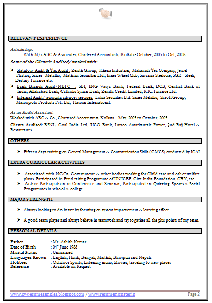 Over 10000 CV and Resume Samples with Free Download: CV Format For ...