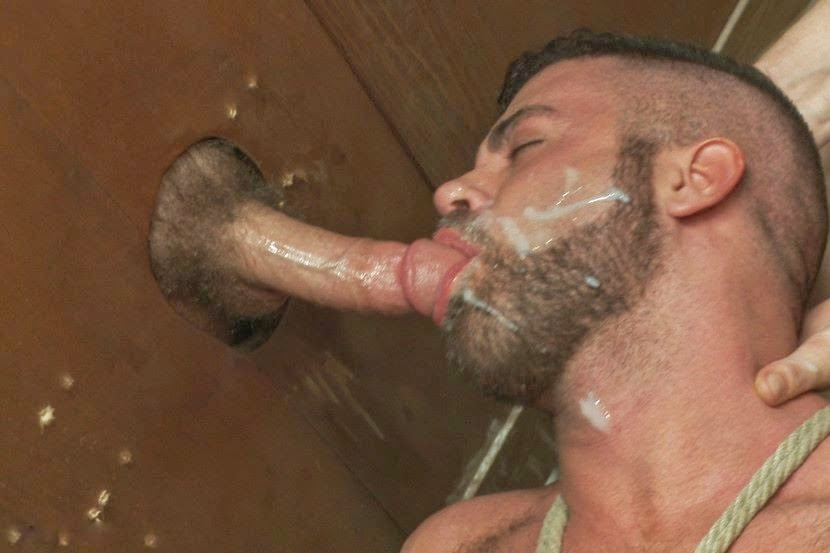 Horny gays fucking through gloryhole