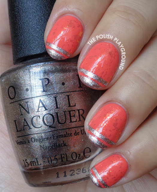 Coral Flakie with Stripe Tips Nail Art