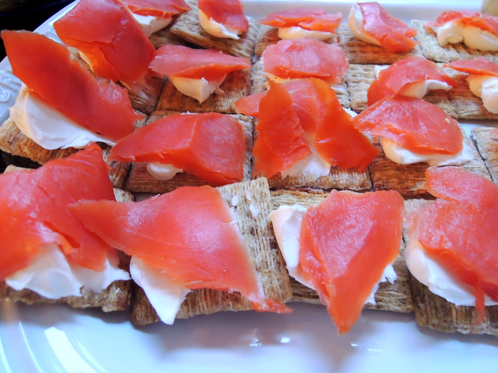 Cream cheese and salmon on triscuits