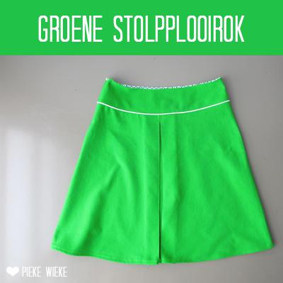 Groene stolpplooirok