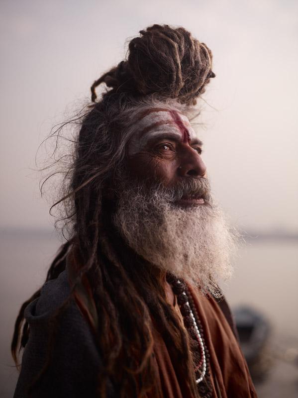PORTRAIT OF BABA NONDO SOMENDRAH  Varanasi, India