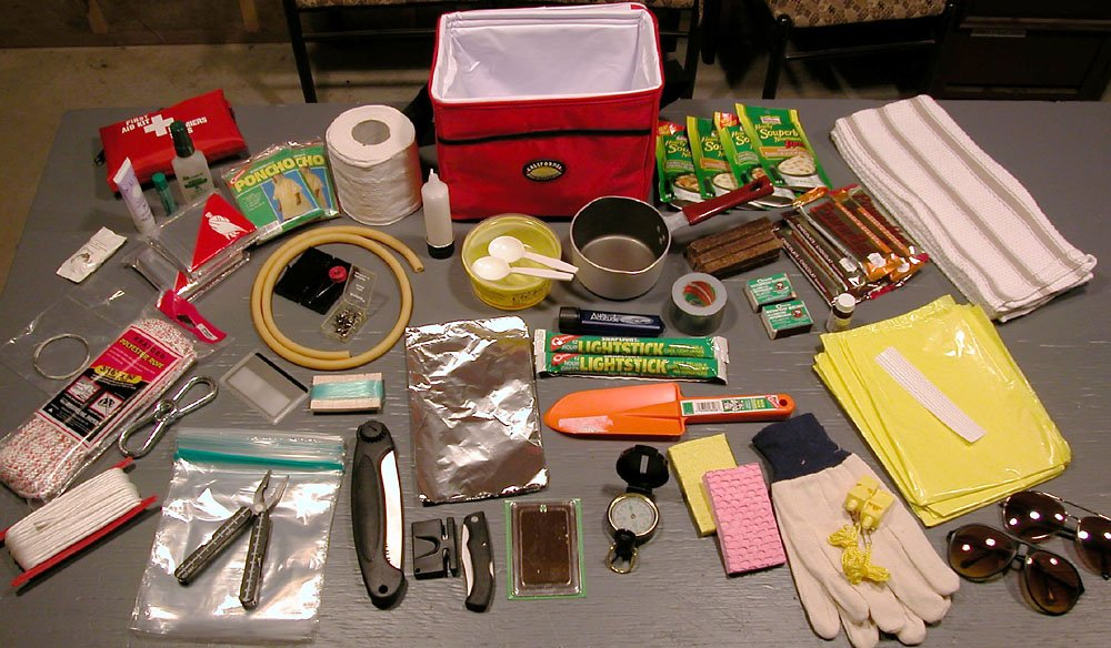A homemade survival kit and emergency pack