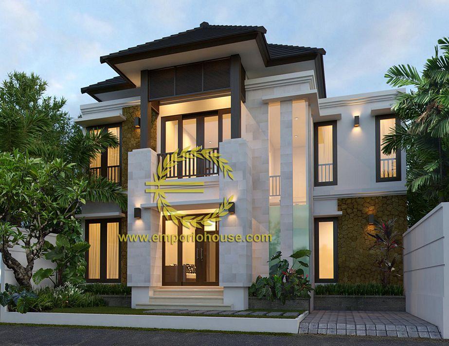 desain rumah gaya tropis 2 lantai terkini