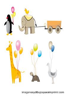 Animales con globos para imprimir