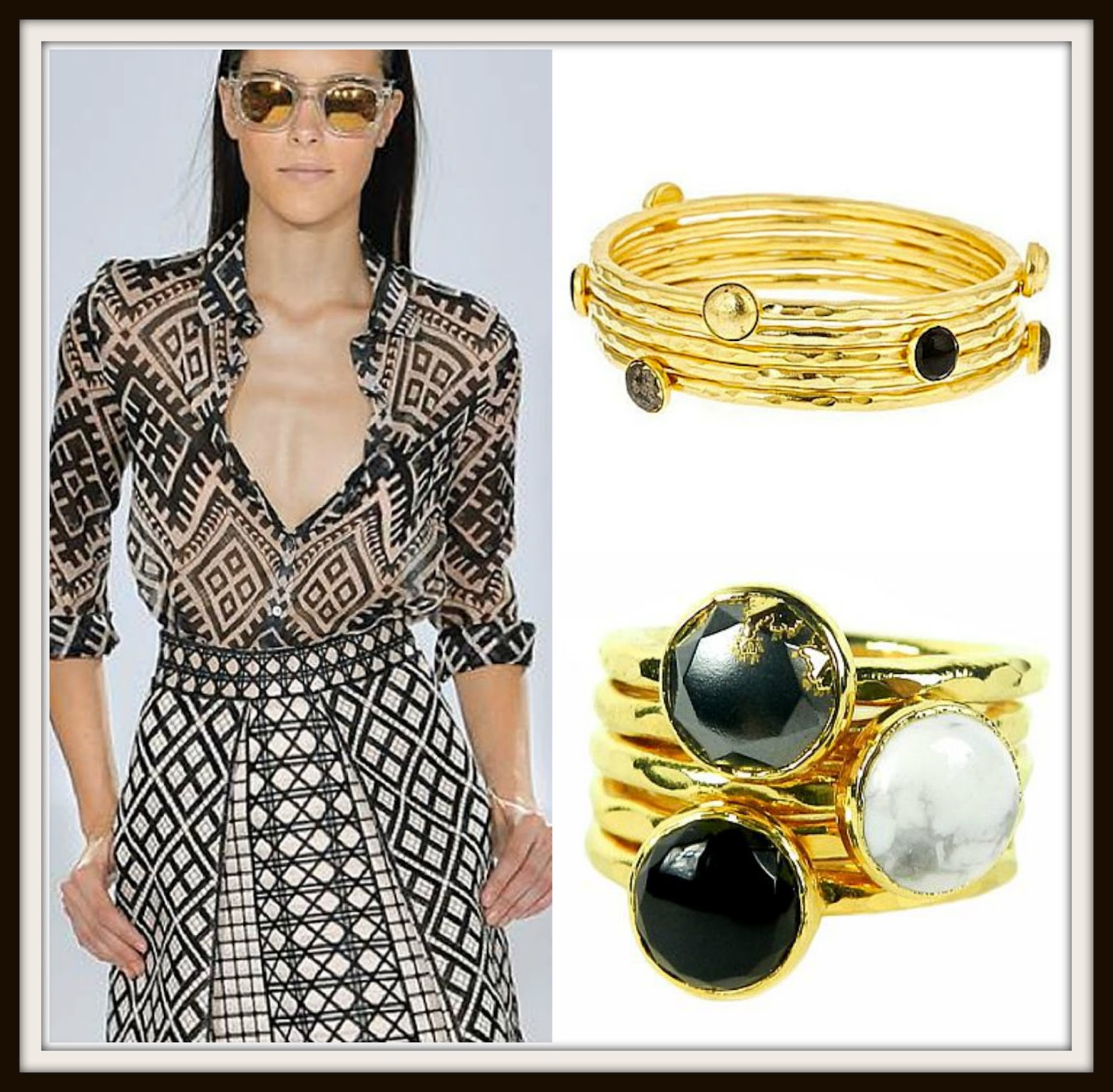 LFW2015, NYFW2015, Temperley, black, white, monochrome, black jewelry, white jewelry, stacking bangles, stacking rings