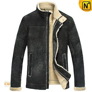 men leather fur jacket
