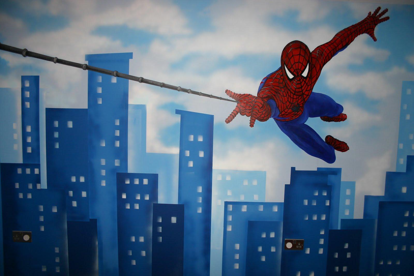 Mural designs the muralist spiderman wall mural for Background mural