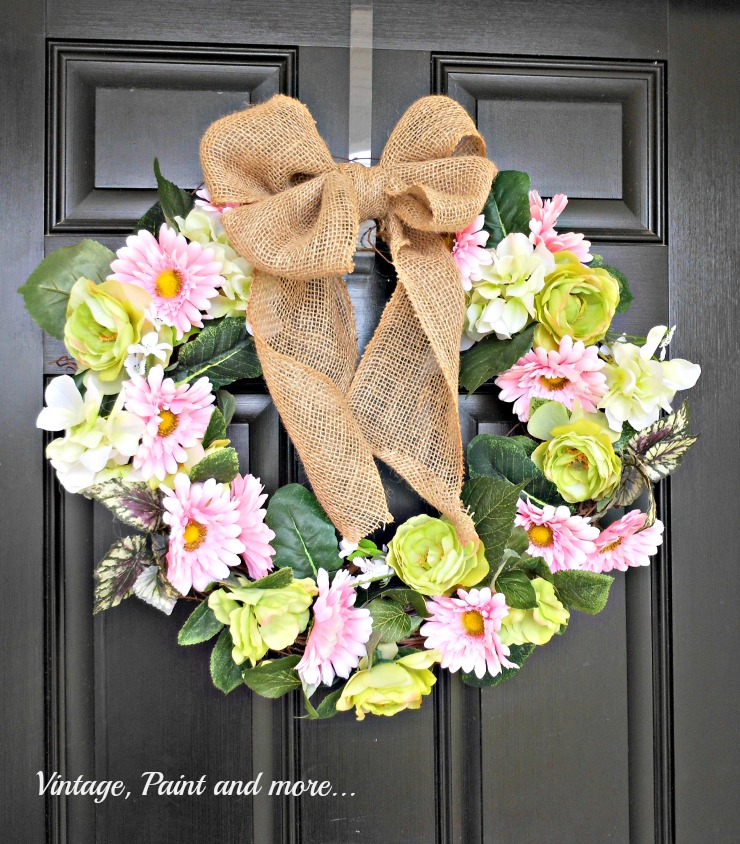 Vintage, Paint and more.. DiY Spring wreath of faux flowers and burlap ribbon