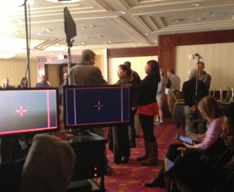 Sandra Oh filming scenes on the Grey's Anatomy set at the Warner Center Marriott Hotel