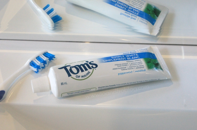 tom's of maine toothpaste in bathroom