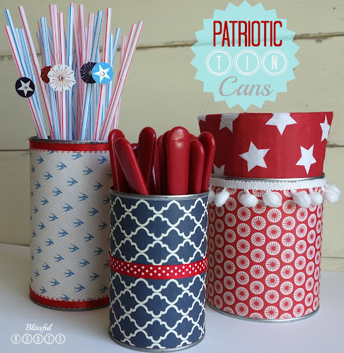 DIY Patriotic Tin Cans @ Blissful Roots