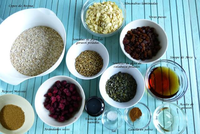 Ingredientes para elaborar granola casera