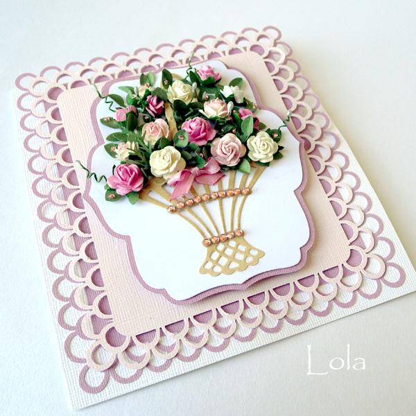 Открытка корзина цветов своими руками