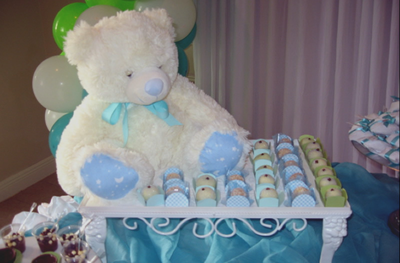 Decoración de Baby Shower de color Azul y Verde : Baby Shower Fiestas
