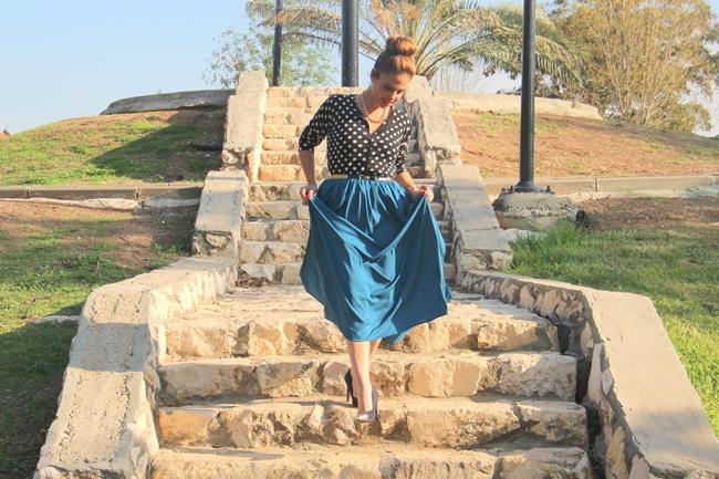 בלוג אופנה Vered'Style חצאית מקסי הדפס נקודות