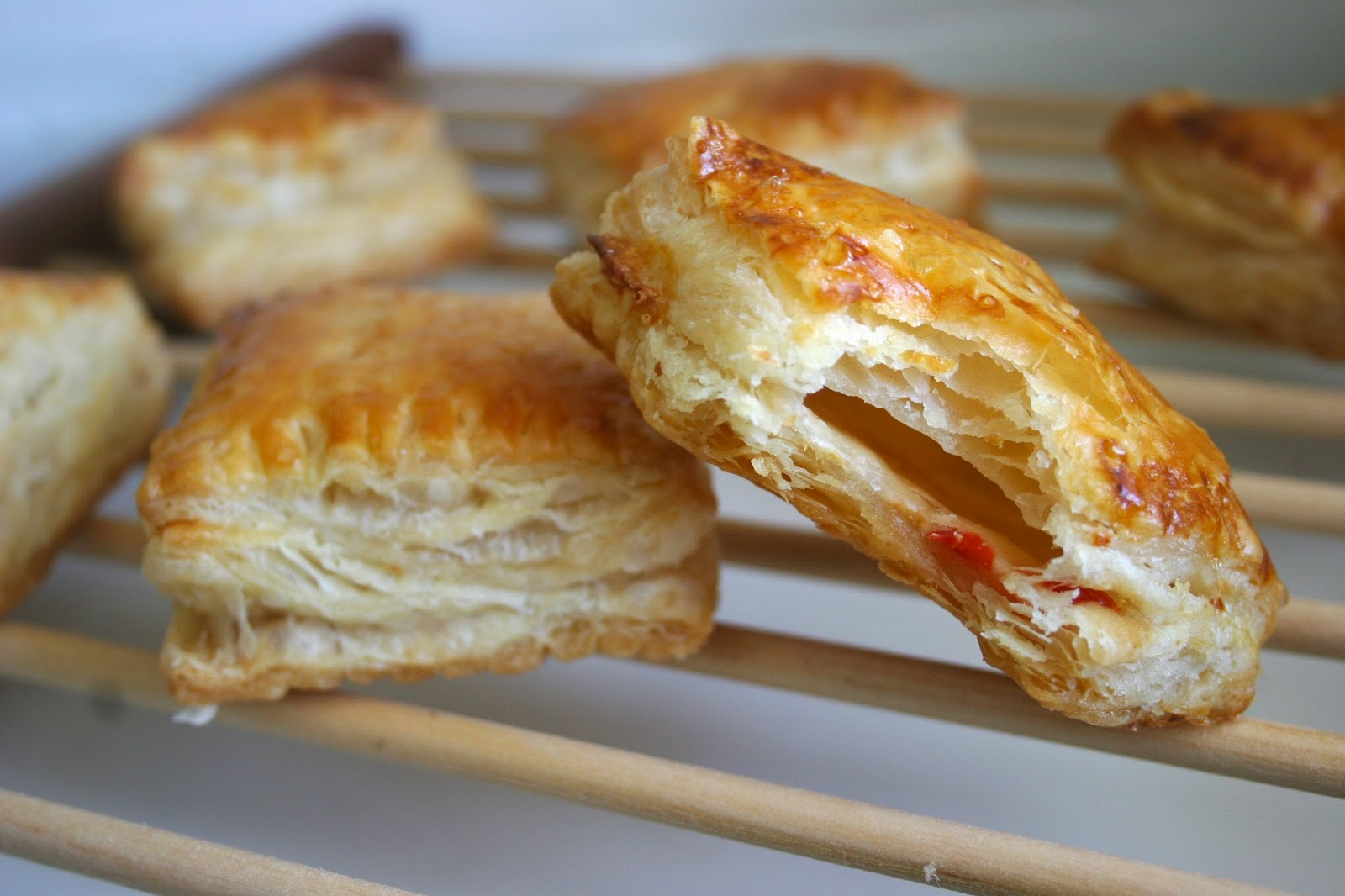Puff Pastry Hand Pies with Goat Cheese & Hot Pepper Jelly bite