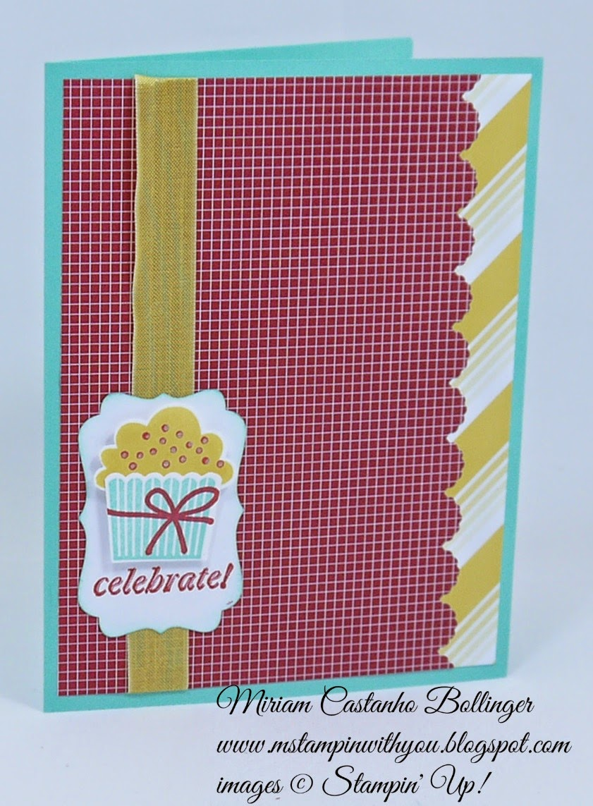 Miriam Castanho Bollinger, #mstampingwithyou, stampin up, demonstrator, birthday card, fms176, cc, cupcake punch, maritime dsp, sweet taffy dsp, decorative label punch, su