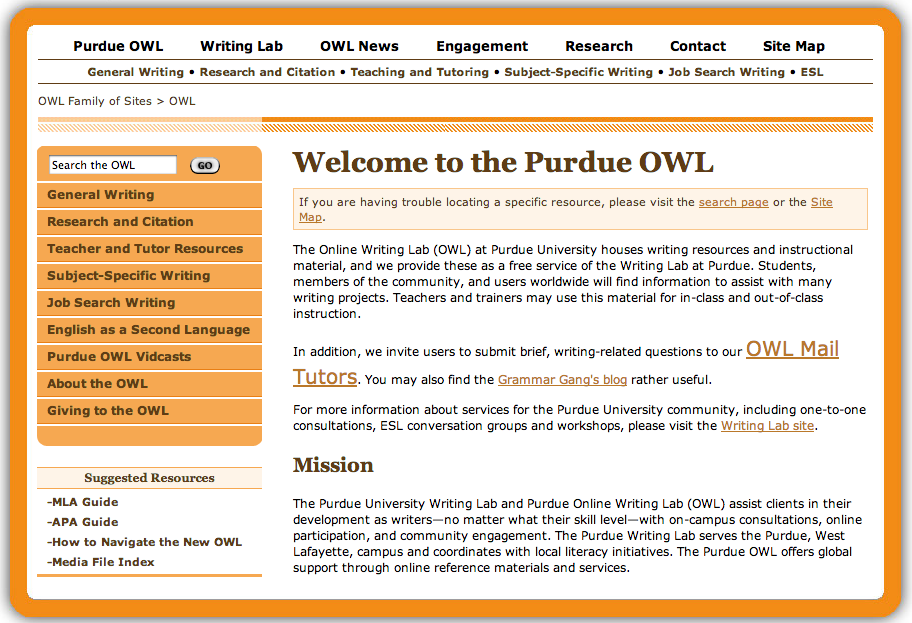 OWL: Purdue Online Writing Lab a Great Resource for Writing Projects