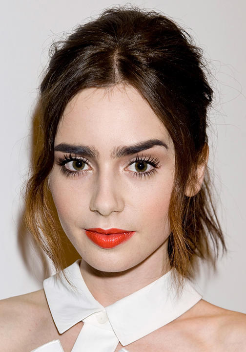 Lily Collins Orange Coral Lips Big Eyebrows