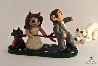 devil cake topper wedding dogs little devils