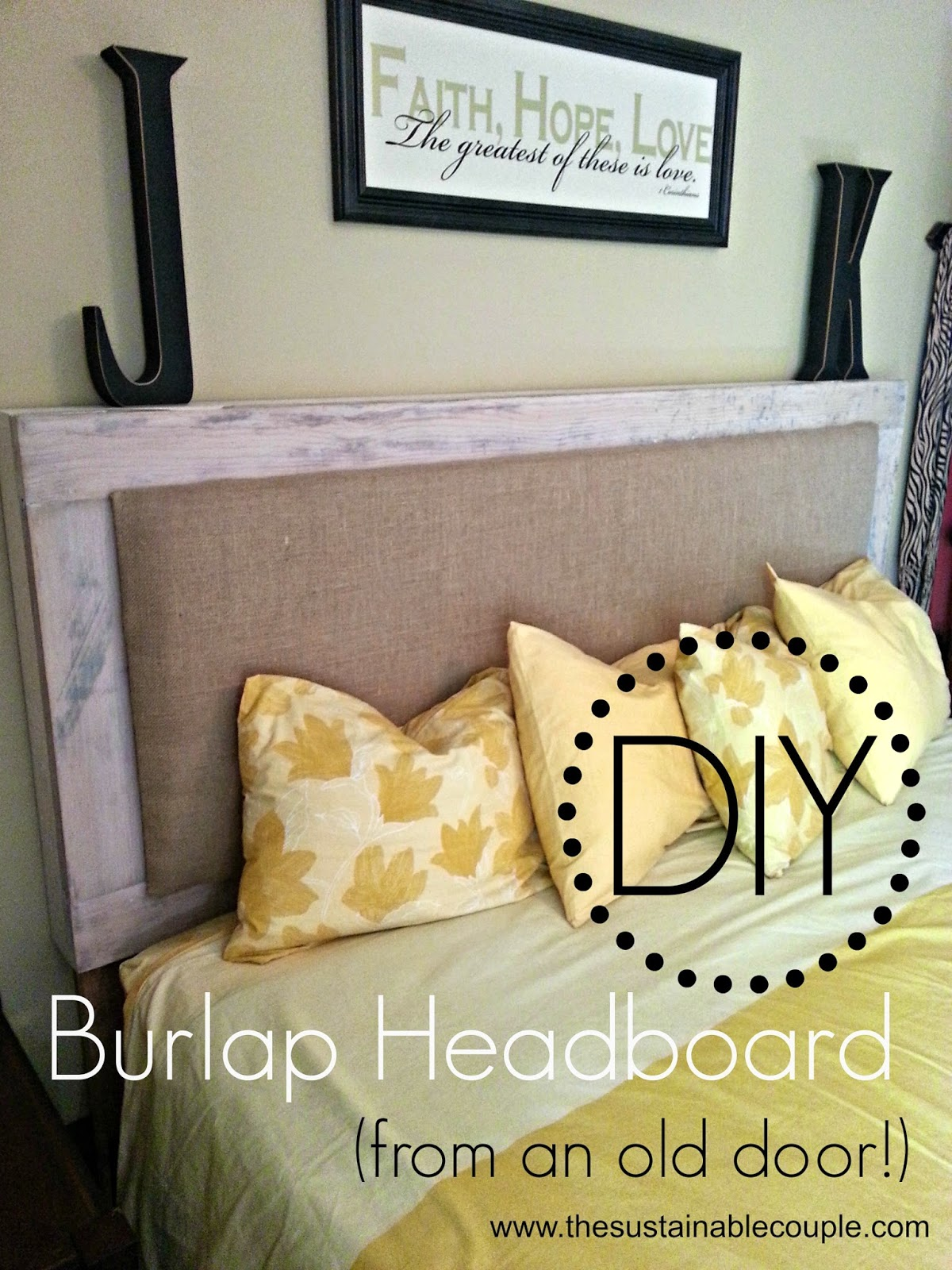The Sustainable Couple Diy Padded Burlap Headboard From An Old Door