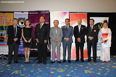Mr. Shoichi Toyoda (Director of Japan Foundation, ),  Ms Koh Mei Lee (CEO of GSC), H.E. Mr Shigeru Nakamura (Ambassador of Japan), Mr. Mandai (Japan Club Kuala Lumpur), Mr. Koichi Wada (Mitsubishi Corporation),  Mr. Chin Vin Sen (CEO of Cinema Online), Mr Nakamura (JACTIM) & Ms Linora (Representative of Capital FM) group photo at GSC Japanese Film Festival 2013 launch