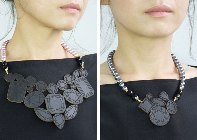 azumi and david, leather necklace, gem necklace