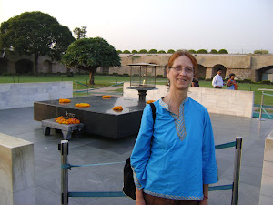 Susan at Gandhi Memorial, Delhi, India, November 2010