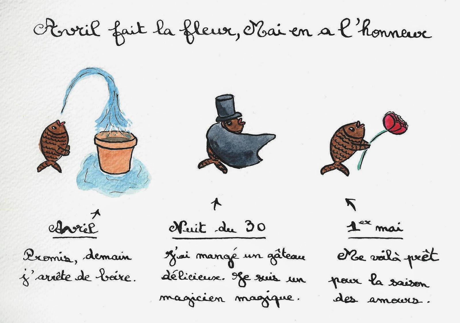 Les aventures de Poissonou the Fish, le poisson d'avril #boire #eau #manger #cape #cueillir #pivoine